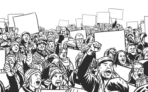 Illustration of people protesting with blank signs and banners.