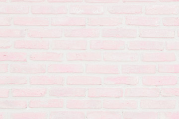 Abstract Pastel Pink and White brick wall texture background pre wedding. Brickwork or stonework...