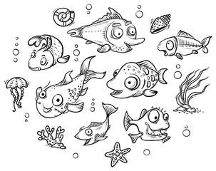 A set of cartoon tropical fishes, outline clip art