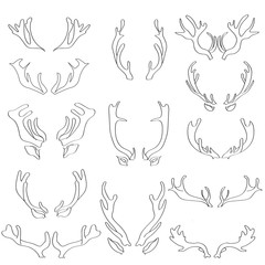Antlers Doodle Doodle. Set of vector pictures.