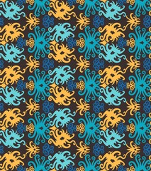 Foto op Canvas Marokkaanse Tegels traditional seamless pattern of batik motif. Stylish fabric vector design. Creative textile background for fashion or cloth. Borneo style