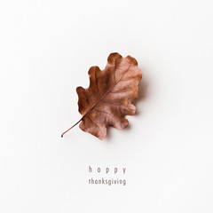 minimalistic bright autumn / fall background with  a beautiful leaf / happy thanksgiving,  flat lay, invitation / greeting card
