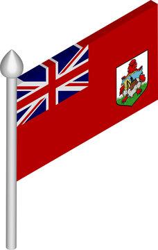 Vector Isometric Illustration of Flagpole with Bermuda Flag