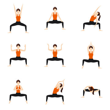 Goddess pose variations yoga asanas set/ Illustration stylized woman practicing deviasana variations