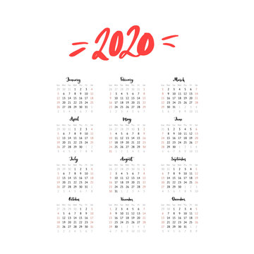 2020 year one page calendar. Week start Sunday, us format. Simple and clean grid template with calligraphy months. Vector design