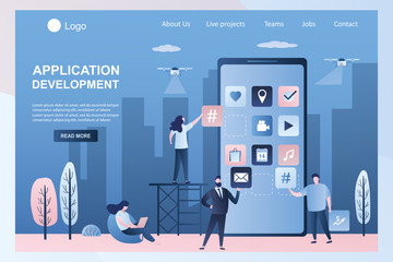Software or mobile app development. Programmers and business people develop application