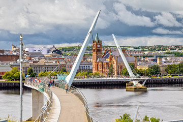 The Peace Bridge and Guild Hall in Londonderry / Derry in Northern Ireland