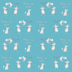 Blue seamless pattern with mice love story