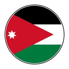 Jordan flag round icon vector - Jordanian national flag.