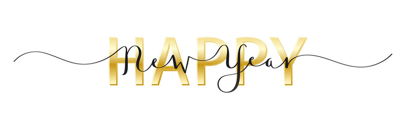 Wall Mural - HAPPY NEW YEAR black and gold mixed typography banner with brush calligraphy