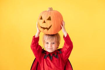 Happy child dressed Halloween costume Wall mural