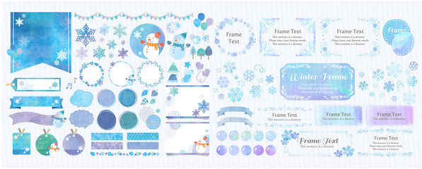 Winter theme / blue color winter frame and background set