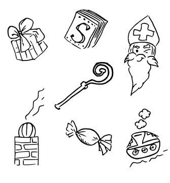 Saint Nicolas - Icon set - small isolated symbols for the Dutch Sinterklaas Party