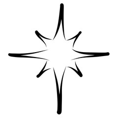 christmas star, black outline on a white background