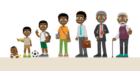 Cartoon, Character of a African man in different ages.. Baby, child, teenager, young, adult, old people.