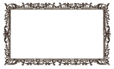 Panoramic silverframe for paintings, mirrors or photo isolated on white background