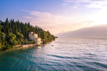 Wall Mural - Historic wonderful villa on Garda Lake. Toscolano Maderno, Lombardy, Italia
