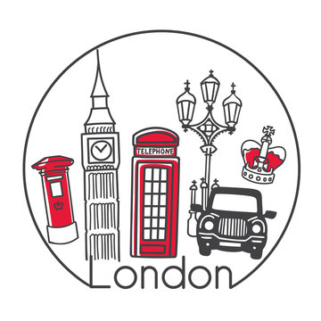Vector illustration London, Great Britain in trendy minimalist line style. Hand drawn doodle outline objects in circle frame. Big ben, red telephone box, post box, cab, street lapm, the crown.