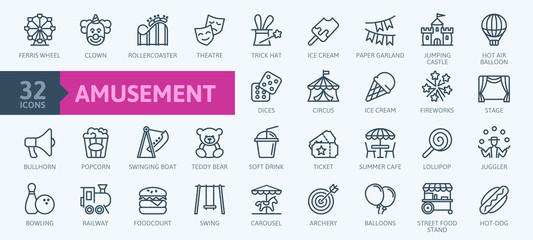 Amusement Park minimal thin line web icon set. Included the icons as Rollercoaster, Carousel, Ferros Wheel and more. Outline icons collection. Simple vector illustration. Fotobehang