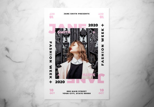 Fashion Flyer Layout with Pink Accents