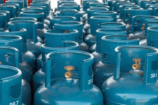 LPG gas bottle stack ready for sell, filling lpg gas bottle