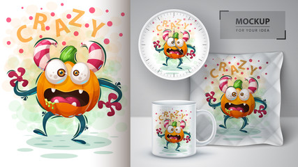 Cute pumpkin monster - mockup for your idea