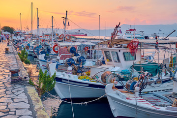 Fishing boats in Corfu, Greece.