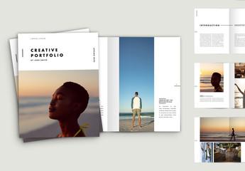 Minimal Portfolio Layout with Blue Elements