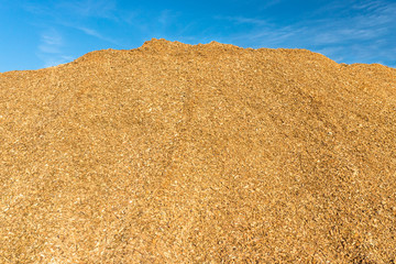 A large pile of wood chips lying on a square, with a blue sky in the background.