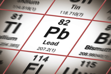 Lead chemical element with the Mendeleev periodic table - concept image