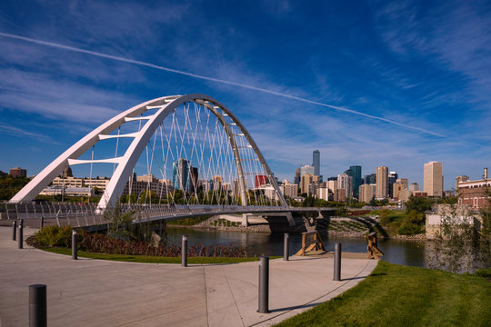 Bridge over the river and downtown view in Edmonton, Alberta, Canada in mid September.