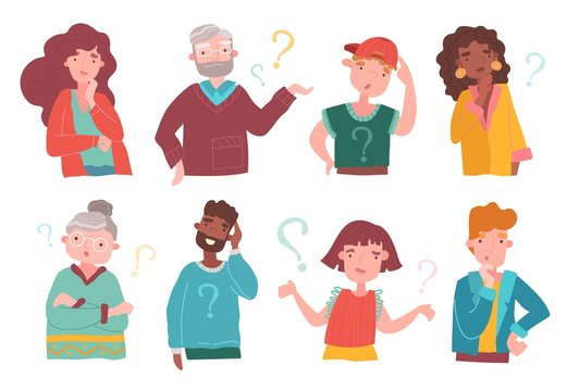 Set of eight colorful multiracial cartoon people deep in thought, some with question marks, some thinking scratching their heads, vector illustration