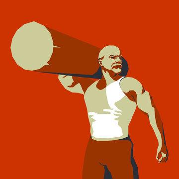 Brutal Vladimir Lenin with a log on his shoulder. Soviet poster style illustration