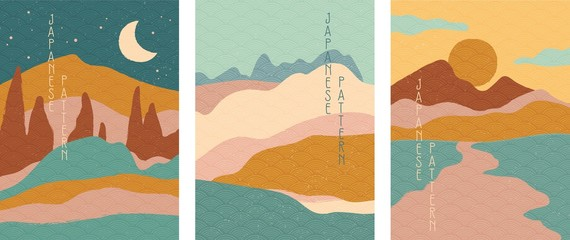 Triptych of simple stylised minimalist Japanese landscapes in muted colors, abstract elements. Vector illustration