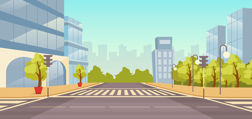 City street flat vector illustration. Cityscape with no people. Urban highway with skyscrapers, parks cartoon background. Town buildings and roads intersection with crosswalk, traffic lights backdrop