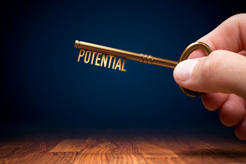 Coach has a key to unlock potential - motivation concept