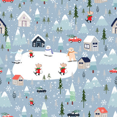 Seamless pattern Cute Christmas landscape in the town with fairy tale houses, polar bear playing ice skates, trees and cars, Vector Panorama flat design in winter city life on Christmas