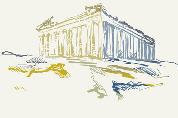 Rysynek ręcznie rysowany. Widok na starożytne ruiny  Akropolu w Atenach w Grecji