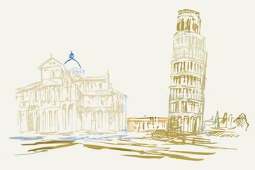 Rysynek ręcznie rysowany. Widok na krzywą wieże w Pizie