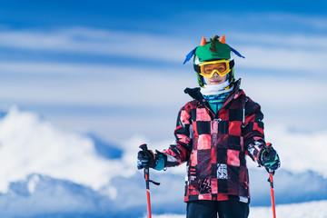 Skiing Boy on a Mountain Top Fototapete