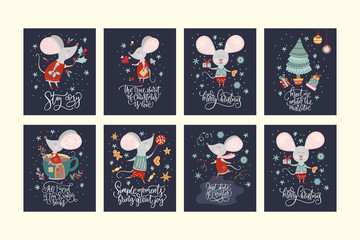 Christmas funny cartoon mouse set in a flat style with hand drawn lettering quote. Winter vector poster collection with cute New Year mice.