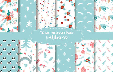 Christmas plant pattern Blue winter time seamless backgrounds. Endless texture for wallpaper Vector