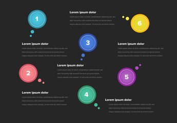 Infographic Layout with Bright Circles And Dark Background