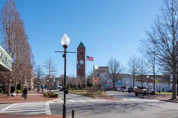 Spartanburg, USA - February 25, 2019: View of the city center of Spartanburg, USA.