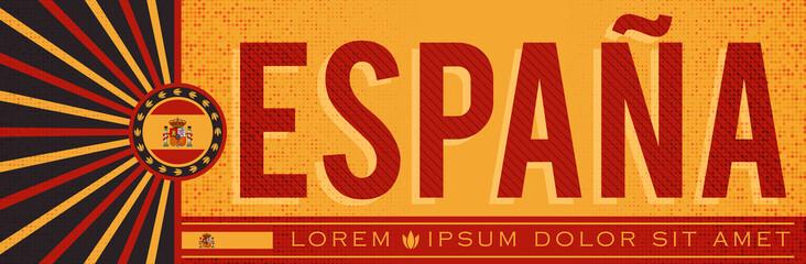 Espana Spain Banner design, typographic vector illustration, Spanish Flag colors