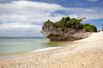 Fototapete - Tropical sandy beach with rocks. Travel destinations