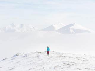 Young woman looking at mountains