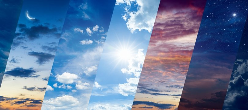 Different times of day: dawn and sunset, day and night. Concept of continuous flow of time and unity and struggle of opposites.