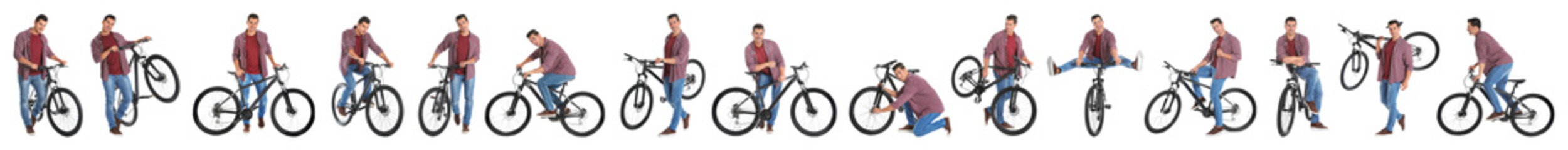 Collage of handsome young man with bicycle on white background. Banner design