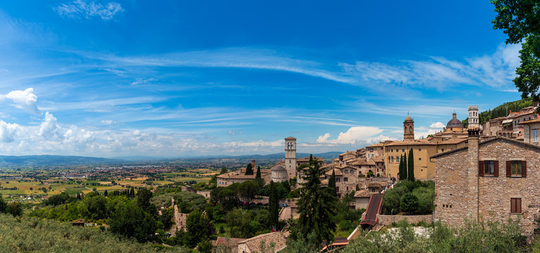 Panorama of the medieval city of Assisi in Italy, birthplace of St. Francis, founder of the Franciscan religious order and St. Clare founder of the Order of Poor Clares